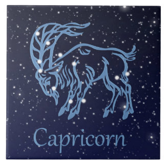 Capricorn Constellation and Zodiac Sign with Stars Large Square Tile
