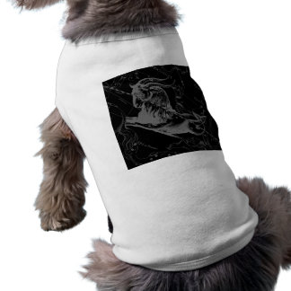 Capricorn Constellation Map Hevelius 1690 on Black Sleeveless Dog Shirt