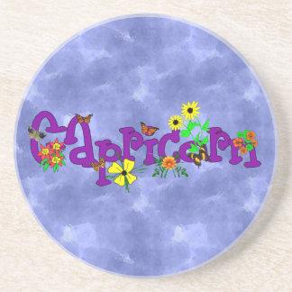 Capricorn Flowers Drink Coasters
