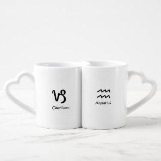 Capricorn goat and Aquarius Zodiac Astrology Coffee Mug Set