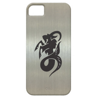 Capricorn Goat Silhouette with Metallic Effect iPhone 5 Cases