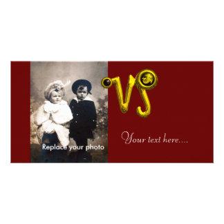 CAPRICORN GOLD ZODIAC BIRTHDAY JEWEL,Black Onyx Customized Photo Card