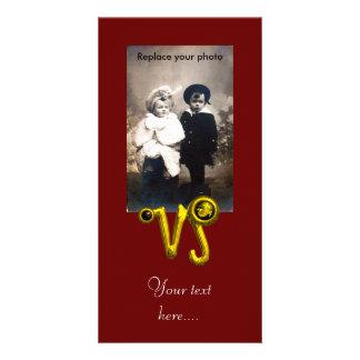 CAPRICORN GOLD ZODIAC BIRTHDAY JEWEL,Black Onyx Photo Greeting Card