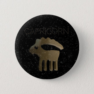 Capricorn golden sign 6 cm round badge