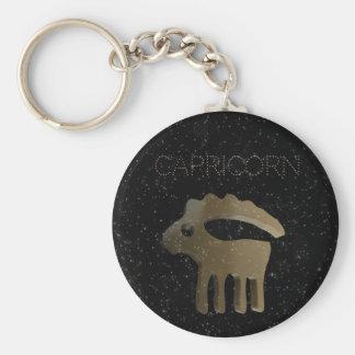 Capricorn golden sign key ring