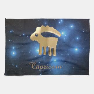 Capricorn golden sign tea towel