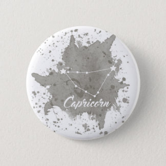 Capricorn Gray Keychain 6 Cm Round Badge