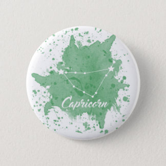 Capricorn Green Keychain 6 Cm Round Badge