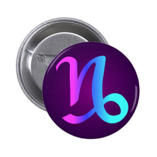 Capricorn Horoscope Sign Pink Blue Aqua Purple 6 Cm Round Badge