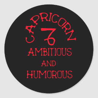 Capricorn (Red Text) Classic Round Sticker