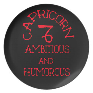 Capricorn (Red Text) Plate