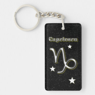 Capricorn symbol Double-Sided rectangular acrylic key ring