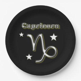 Capricorn symbol paper plate