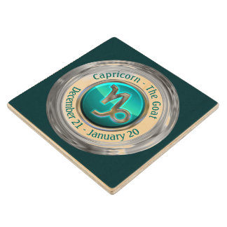Capricorn - The Goat Zodiac Symbol Wood Coaster