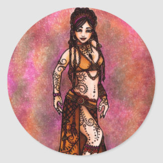 Capricorn Tribal Belly Dancer Classic Round Sticker