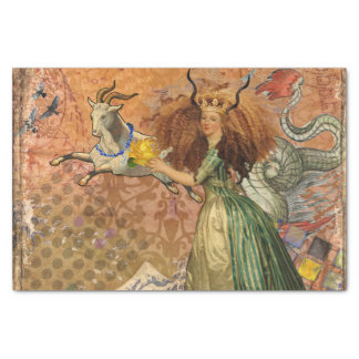 Capricorn Woman Collage Vintage Whimsical Surreal Tissue Paper
