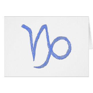 Capricorn. Zodiac Astrological Sign. Blue. Card
