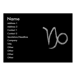 Capricorn. Zodiac Astrology Sign. Black. Pack Of Chubby Business Cards