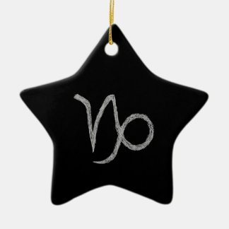 Capricorn. Zodiac Astrology Sign. Black. Christmas Ornament