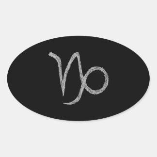 Capricorn. Zodiac Astrology Sign. Black. Oval Sticker