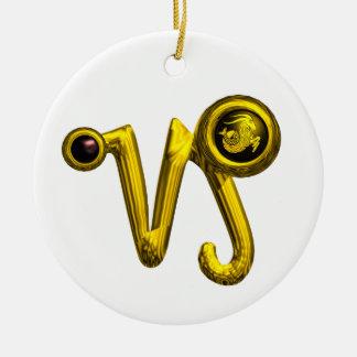 CAPRICORN ZODIAC BIRTHDAY JEWEL BLACK ONYX Gold Double-Sided Ceramic Round Christmas Ornament