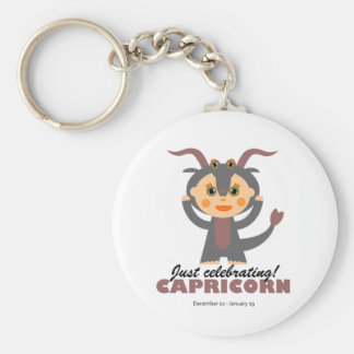 Capricorn Zodiac for kids Basic Round Button Key Ring