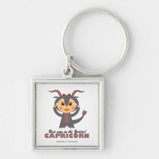 Capricorn Zodiac for kids Silver-Colored Square Key Ring