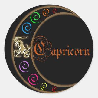 Capricorn Zodiac Moon Classic Round Sticker