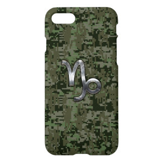 Capricorn Zodiac Sign on olive green camo iPhone 7 Case