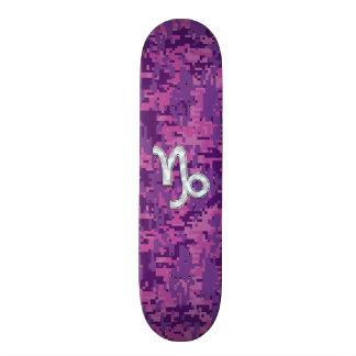 Capricorn Zodiac Symbol Fuchsia Digital Camouflage 21.6 Cm Skateboard Deck