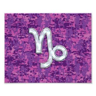 Capricorn Zodiac Symbol on Fuchsia Digital Camo Photographic Print