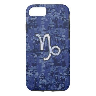 Capricorn Zodiac Symbol on navy blue digital camo iPhone 7 Case