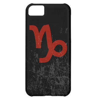 Capricorn Zodiac Symbol (red on black) iPhone 5C Cover