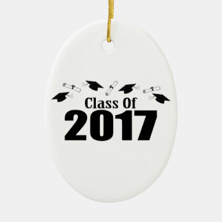 Caps And Diplomas Class Of 2017 (Black) Ceramic Oval Decoration