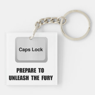 Caps Lock Double-Sided Square Acrylic Key Ring