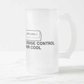 capslock - cruise control for cool frosted glass mug
