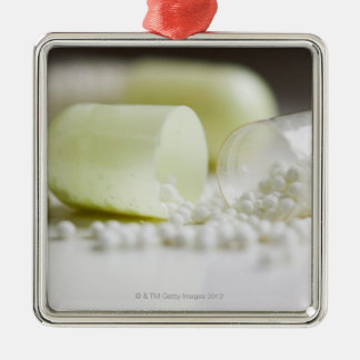 Capsules and medication Silver-Colored square decoration