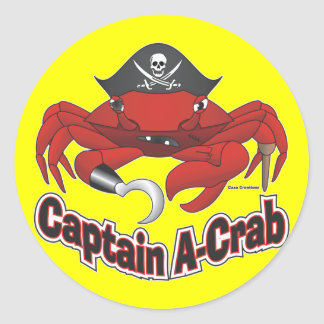 "Captain ""A-Crab"" Classic Round Sticker"