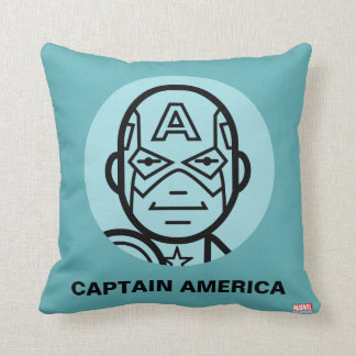 Captain America Stylized Line Art Icon Cushion