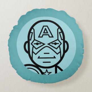 Captain America Stylized Line Art Icon Round Cushion