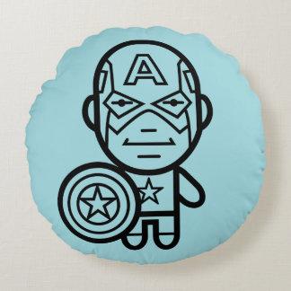 Captain America Stylized Line Art Round Cushion