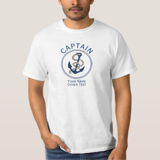 Captain Anchor And Rope Personalized T-Shirt