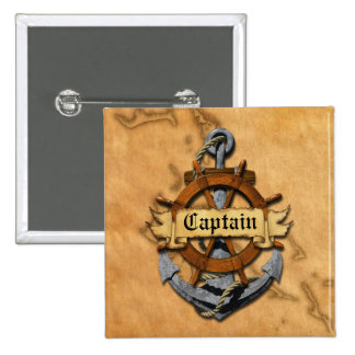 Captain Anchor And Wheel 15 Cm Square Badge