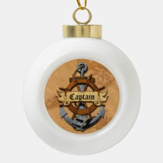Captain Anchor And Wheel Ceramic Ball Christmas Ornament