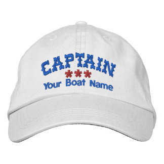 CAPTAIN and BOAT NAME Personalized WHITE RED BLUE Embroidered Hat