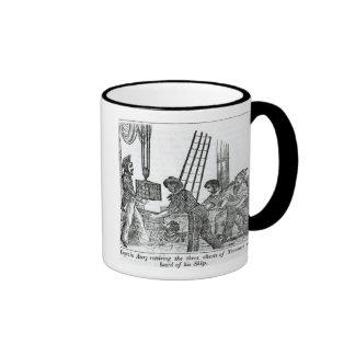 Captain Avery receiving three chests of Treasure Coffee Mugs