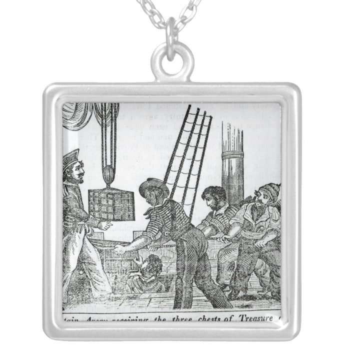 Captain Avery receiving three chests of Treasure Silver Plated Necklace
