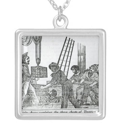 Captain Avery receiving three chests of Treasure Square Pendant Necklace