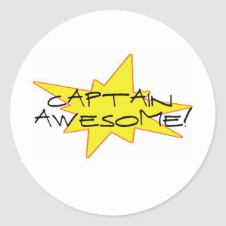 Captain Awesome! Classic Round Sticker