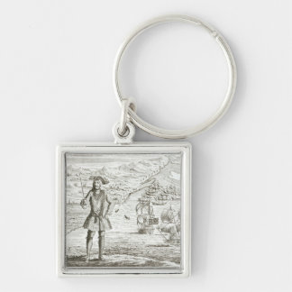 Captain Bartholomew Roberts (1682-1722) with two s Silver-Colored Square Key Ring